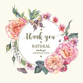 Classical vintage roses greeting card