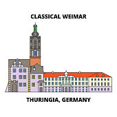Classical Weimar, Thuringia, Germany line icon concept. Classical Weimar, Thuringia, Germany flat vector sign, symbol, illustration.