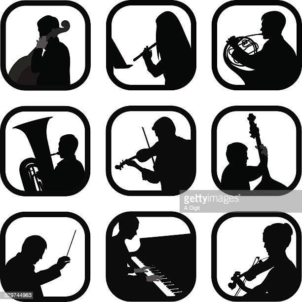 ilustraciones, imágenes clip art, dibujos animados e iconos de stock de classicalinstrumental - director de orquesta