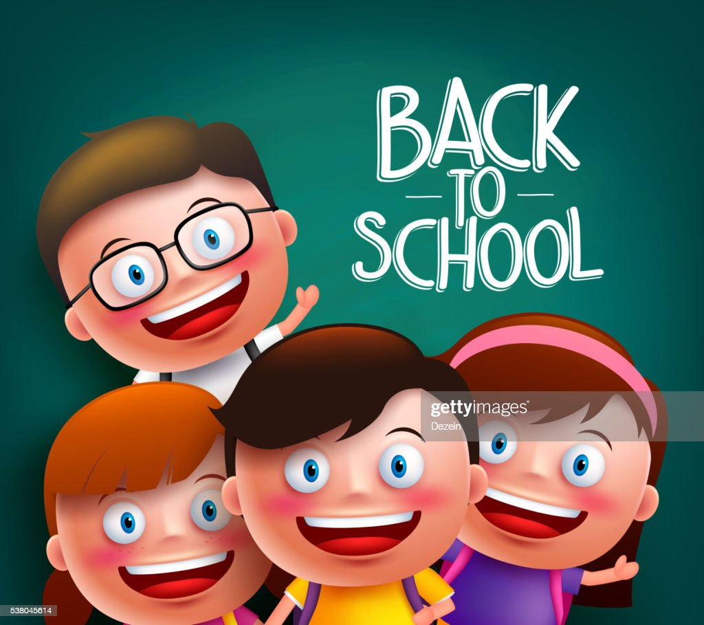 Classmates kids vector characters with smart happy faces in school