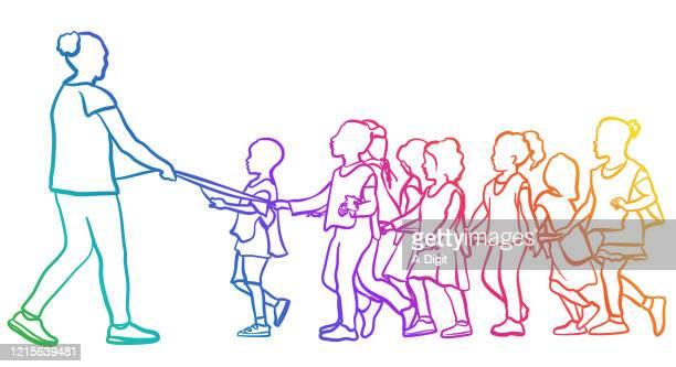 classroom field trip rainbow - child care stock illustrations