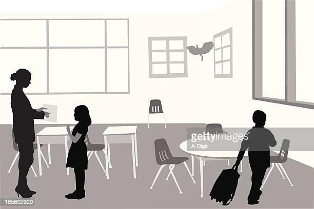 ilustraciones, imágenes clip art, dibujos animados e iconos de stock de classroomkids - edificio de escuela primaria