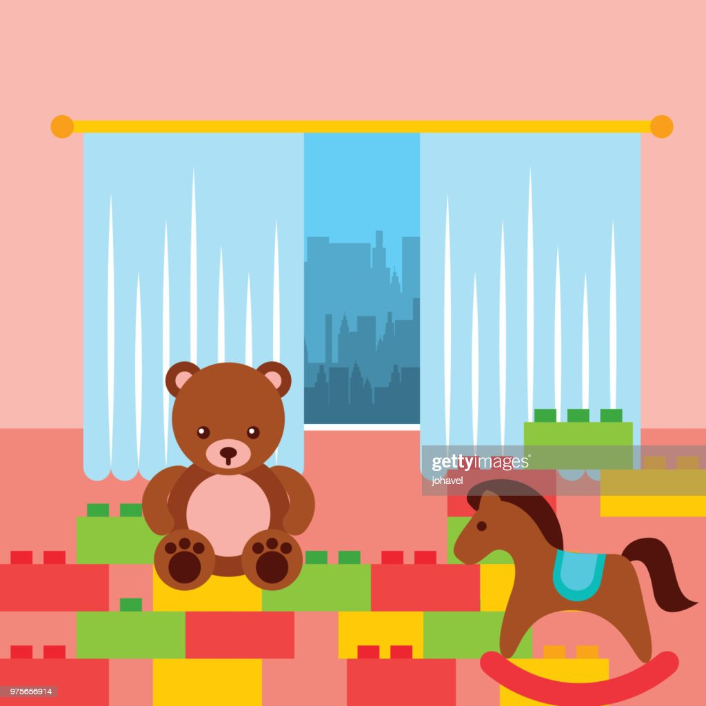 classroom kinder bear rocking horse and bricks construction toys