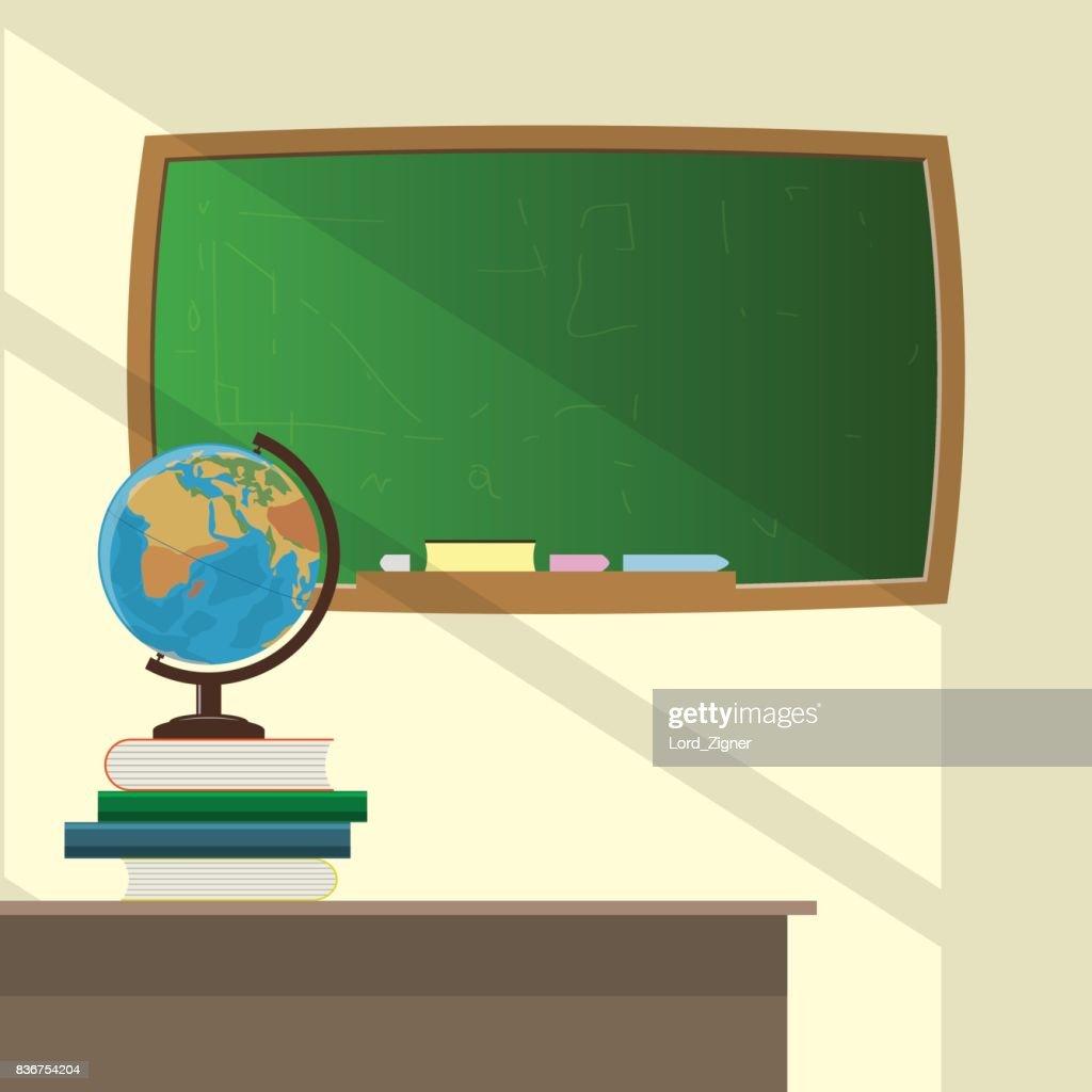 Classroom, School globe and books on the teacher's desk. School board. Vector Illustration