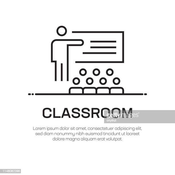 classroom vector line icon - simple thin line icon, premium quality design element - obedience training stock illustrations