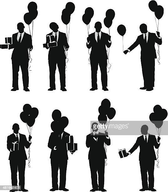 classy birthday celebration man with balloons and presents - gesturing stock illustrations