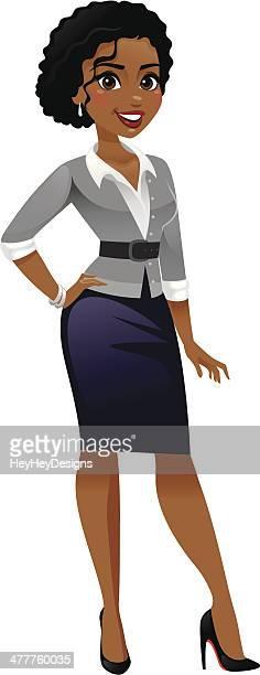 classy business woman - cardigan sweater stock illustrations, clip art, cartoons, & icons