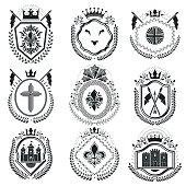 Classy emblems, vector heraldic Coat of Arms. Vintage design elements