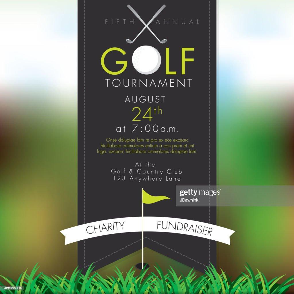 Classy Golf tournament invitation design template on bokeh