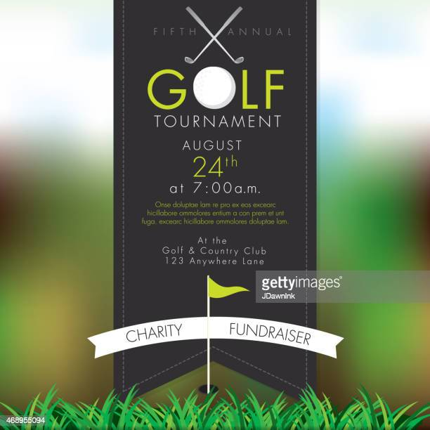classy golf tournament invitation design template on bokeh - green golf course stock illustrations, clip art, cartoons, & icons