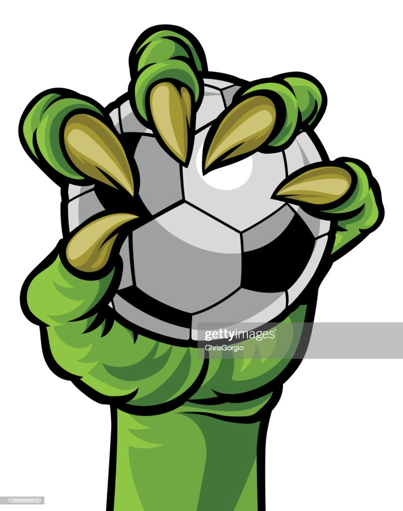 Claw Monster Hand Holding a Soccer Ball