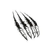 Claw ripping through background, tattoo design