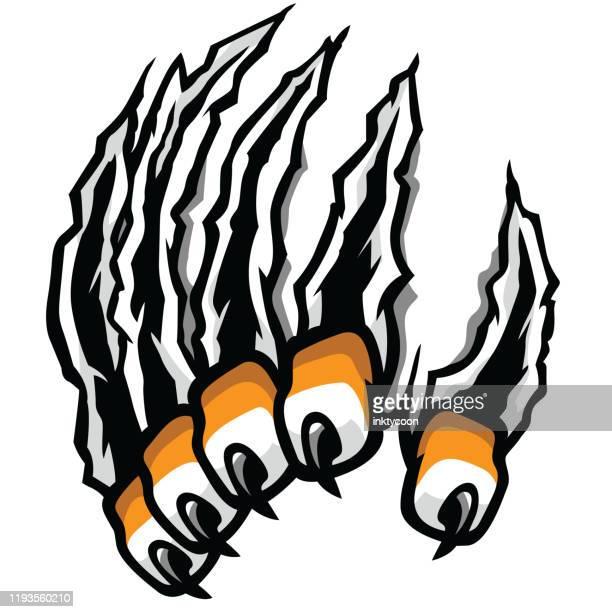 ilustraciones, imágenes clip art, dibujos animados e iconos de stock de una garra que se atraviesa para atacar - puma