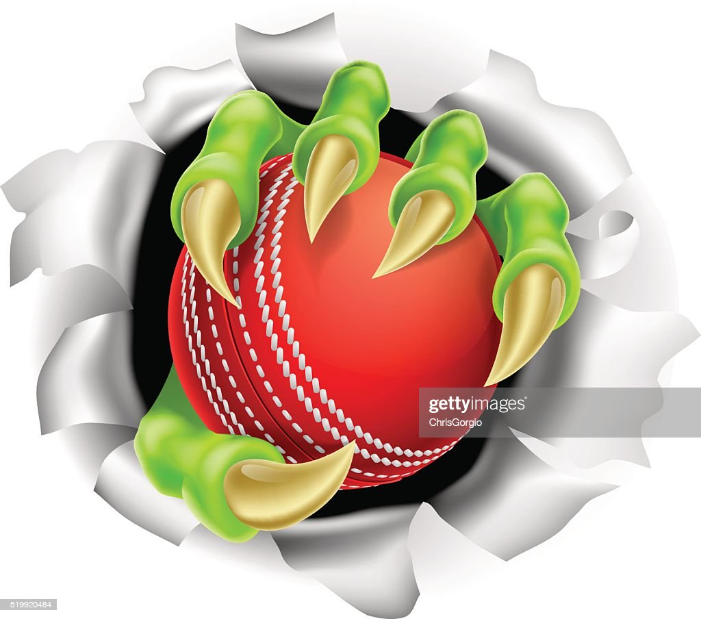 Claw with Cricket Ball Breaking out Of Background