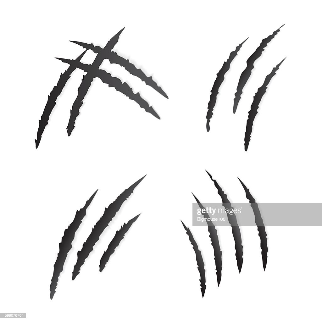 Claws Scratching Wild Animal Set. Vector