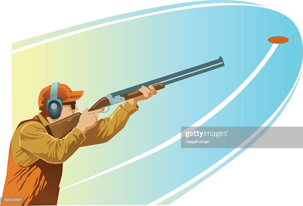 Clay Pigeon Shooter Aiming Shotgun at the Target