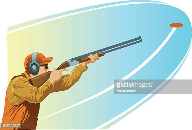 clay pigeon shooter aiming shotgun at the target - shotgun stock illustrations