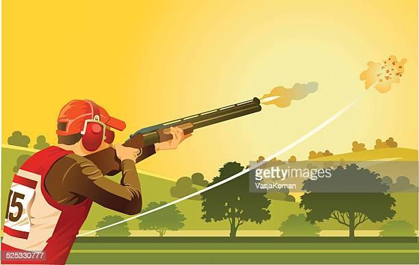 clay pigeon shooter on skeet shooting range - trap shooting stock illustrations