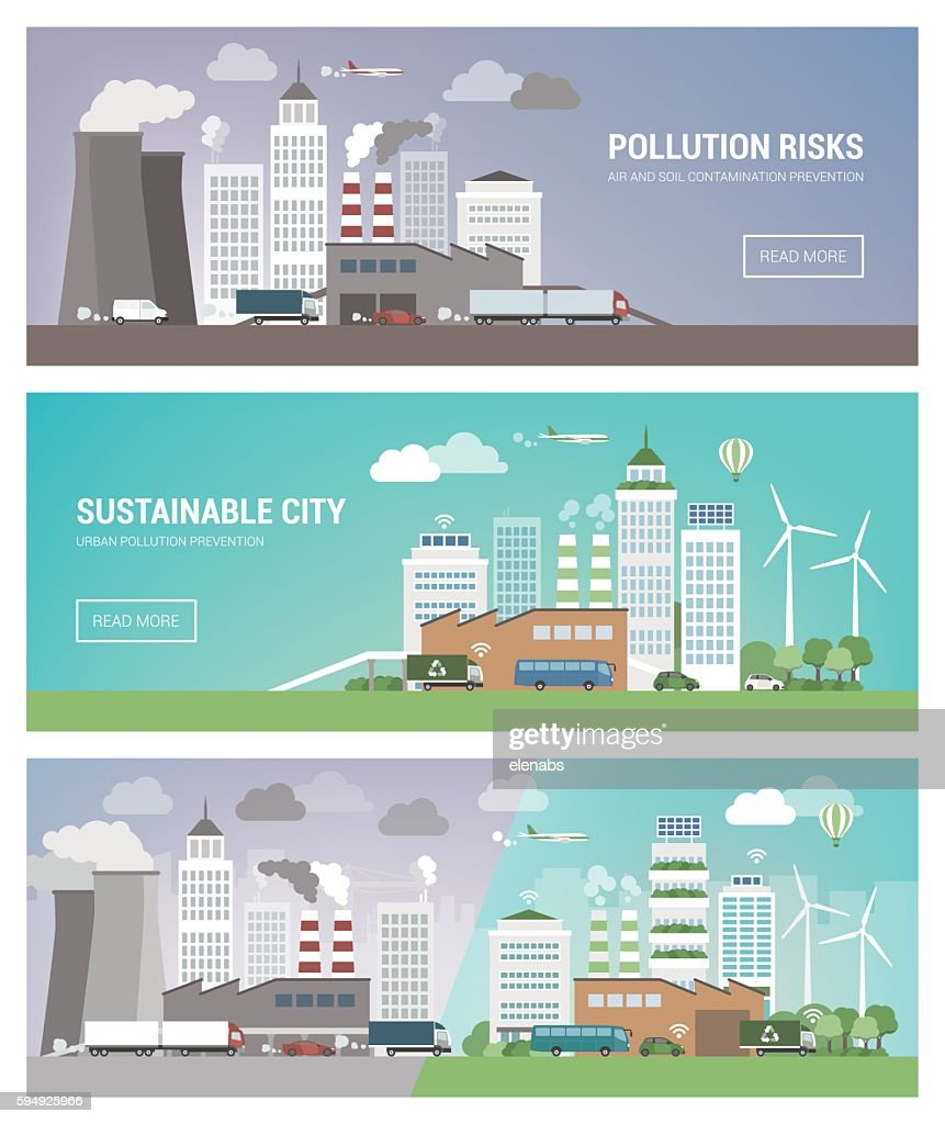 Clean and polluted city