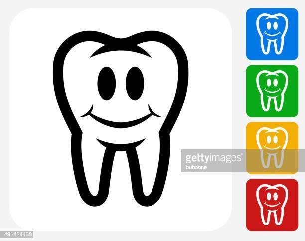 saubere und große zähne-symbol flache grafik design - menschlicher zahn stock-grafiken, -clipart, -cartoons und -symbole
