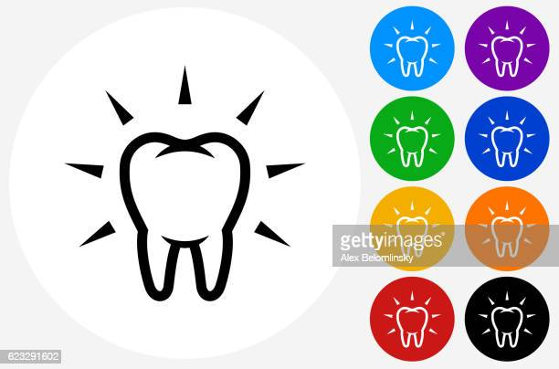 Clean and Strong Teeth Icon on Flat Color Circle Buttons