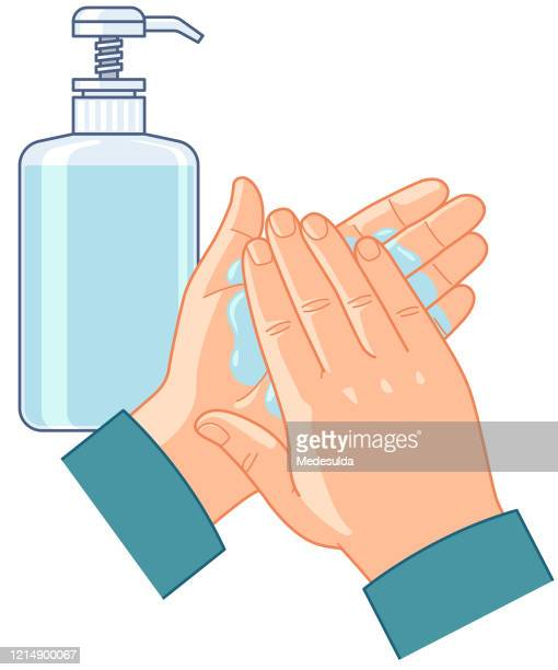 stockillustraties, clipart, cartoons en iconen met schone desinfectiehand - handen wassen