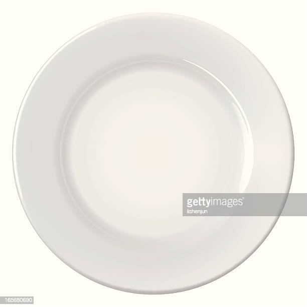 A clean empty white plate on a white background