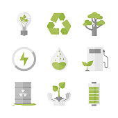 Clean energy and ecology protection flat icons set