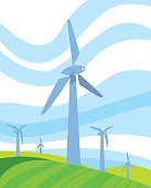 Clean energy banner. Wind power generation