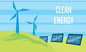 Clean energy. Sun and wind power generation