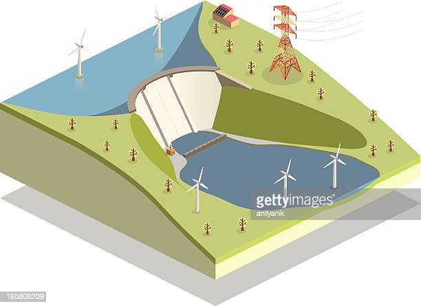 clean energy - dam stock illustrations
