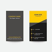 Clean Flat Design Fold Style Yellow Color Business Visiting Card