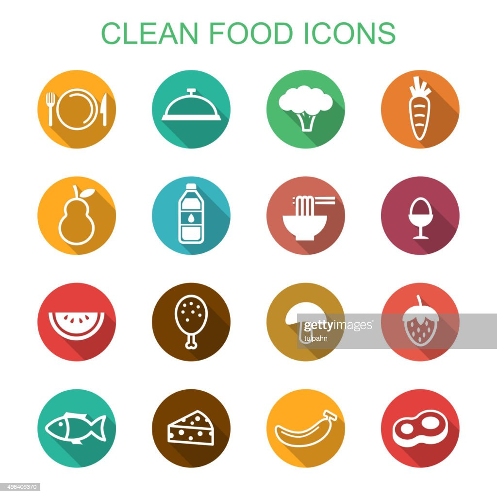 clean food long shadow icons