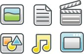 clean glossy icons: media types