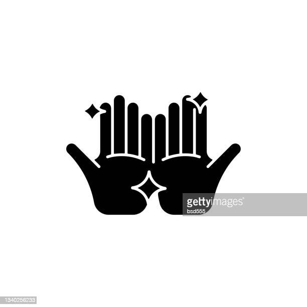 clean hands black glyph icon washing