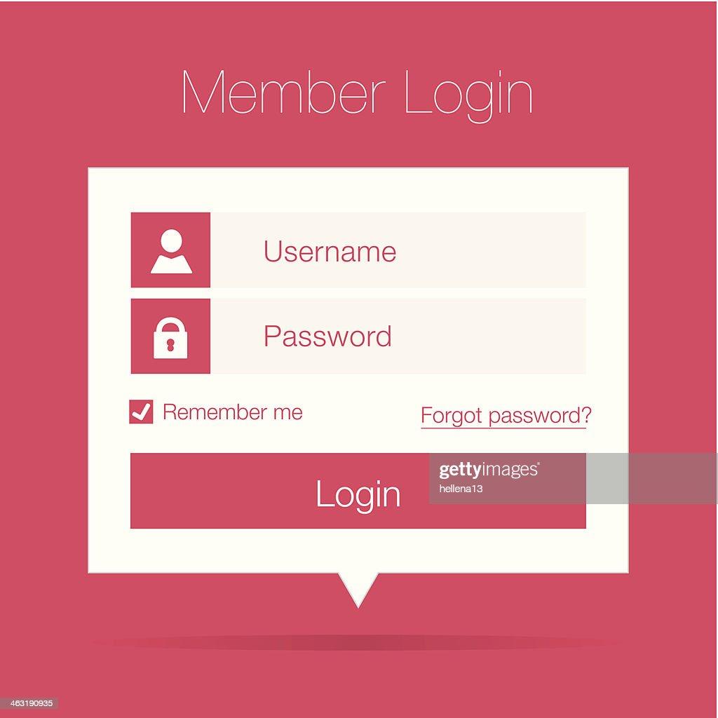 Clean member login form pink design