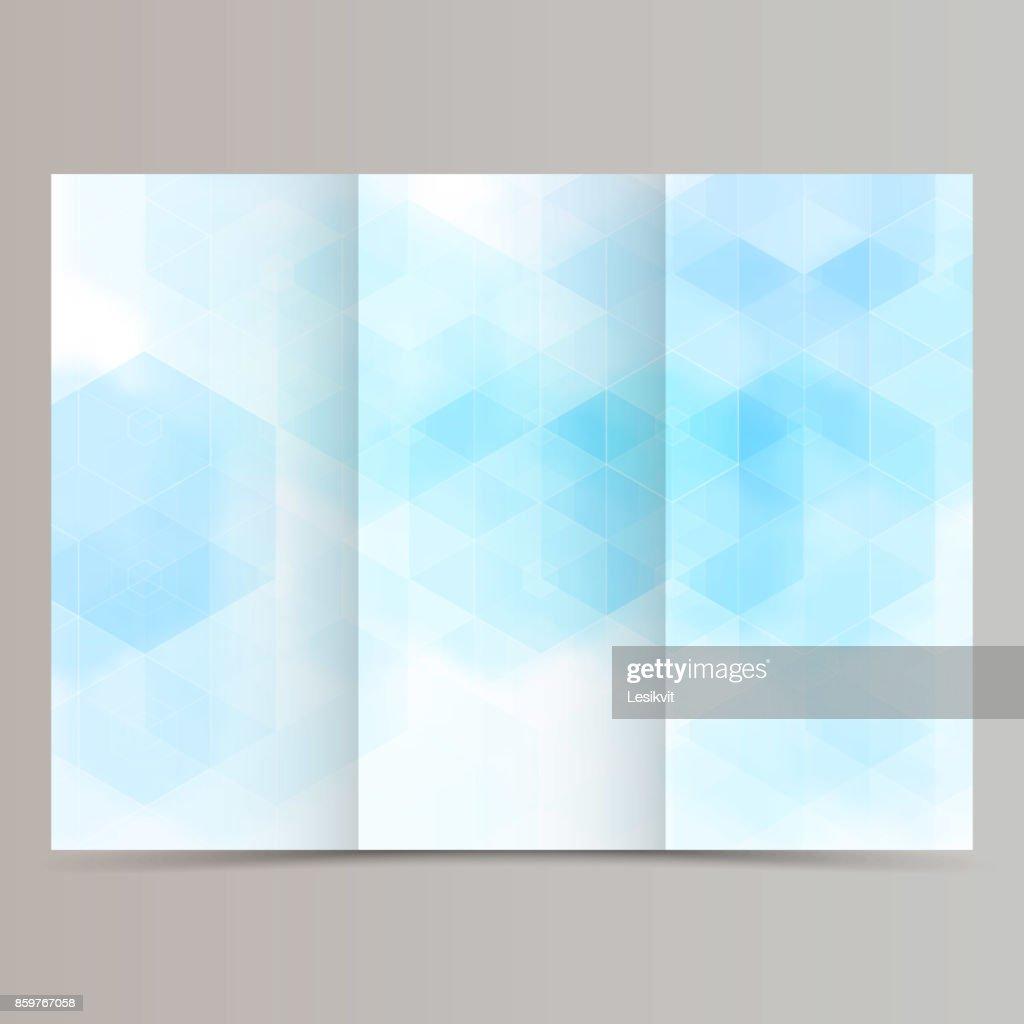 clean minimal tri-fold brochure flyer leaflet design with blue hexagon