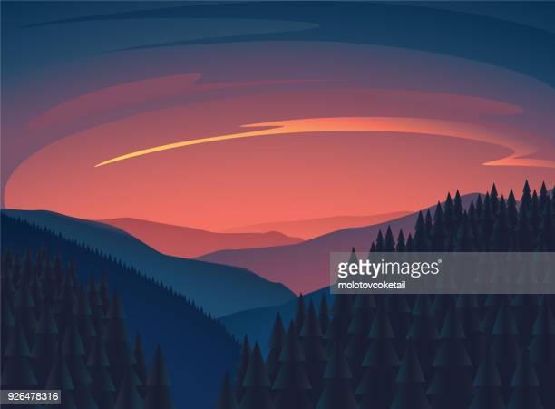 ilustraciones, imágenes clip art, dibujos animados e iconos de stock de ilustración de naturaleza atardecer limpio minimalista con la montaña y el árbol - puesta de sol