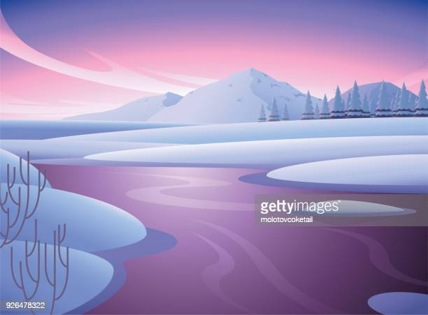clean minimalist winter nature illustration with mountain and river