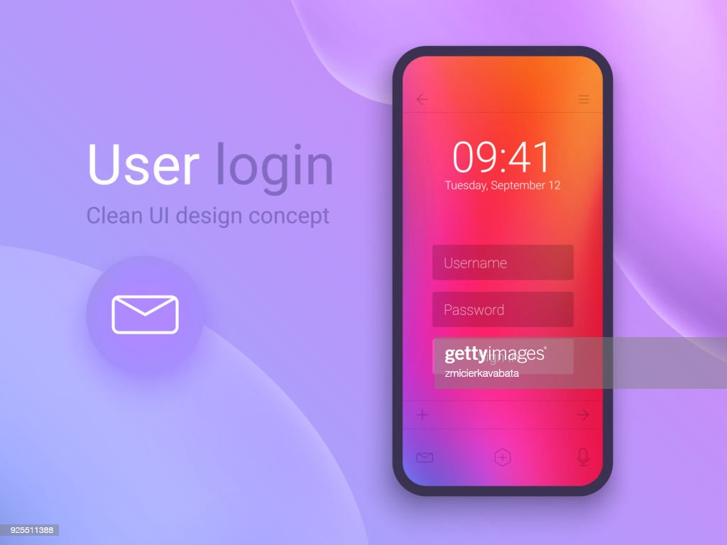 Clean Mobile UI Design Concept. Login Application with Password Form Window. Trendy Holographic Gradients. Flat Web Icons