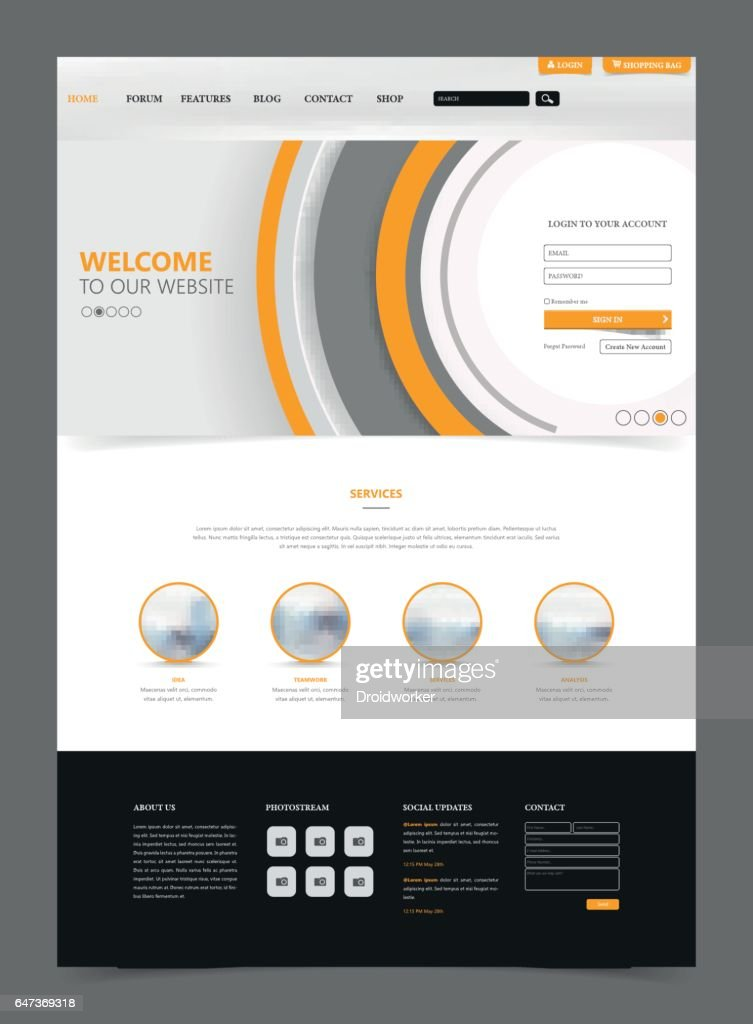 Clean Modern Website Interface Template, Vector Illustration.