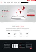 Clean Modern Website Interface Template, Vector Illustration.