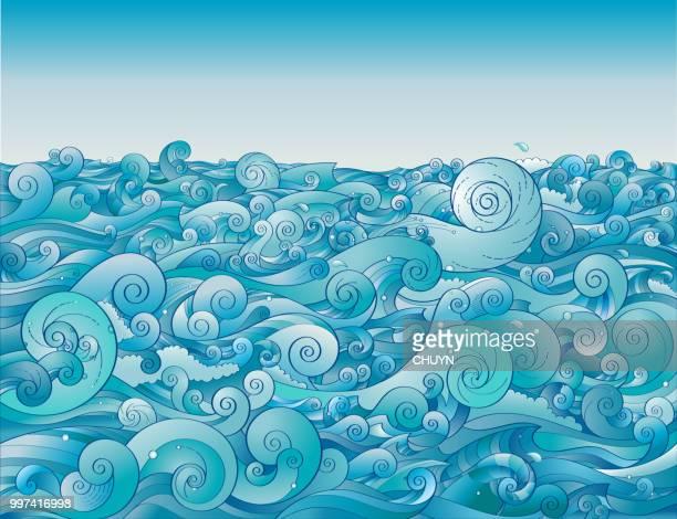 ilustraciones, imágenes clip art, dibujos animados e iconos de stock de limpieza al mar - fuerzas de la naturaleza