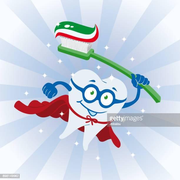 ilustraciones, imágenes clip art, dibujos animados e iconos de stock de diente limpio super héroe - dolordemuelas