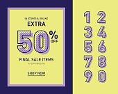 Clean trendy sale banner template. Flat vector.