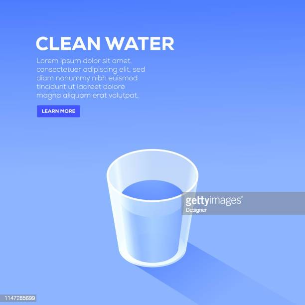 clean water isometric design - drinking glass stock illustrations