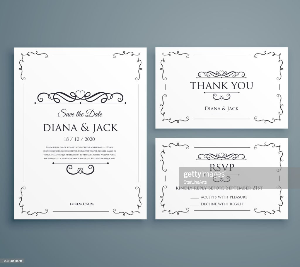 clean wedding invitation thankyou card save the date template design