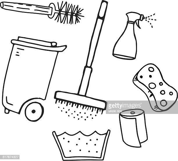 Reinigungskraft Sachen Komposition Gekritzel