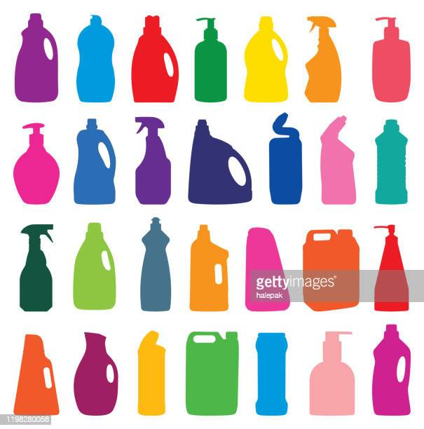 cleaning agent set silhouette - spray bottle stock illustrations