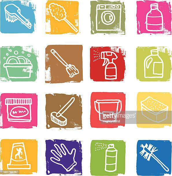 cleaning and domestic block icons - toilet brush stock illustrations, clip art, cartoons, & icons